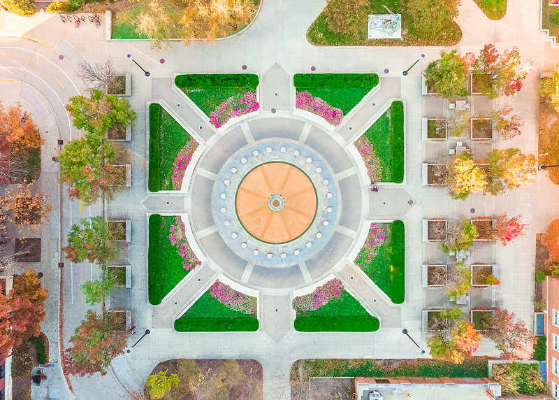 Top-down aerial view of Loeb Fountain at Purdue University in late fall.