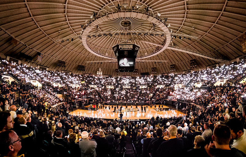 Fisheye view of the BoilerBall Lights show in Mackey Arena before Purdue played Villanova during the 2016-17 NCAA Men's Basketball Season.