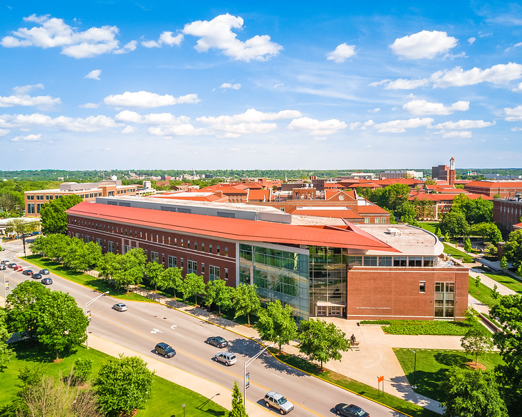 Aerial of Neil Armstrong Hall of Engineering at Purdue University