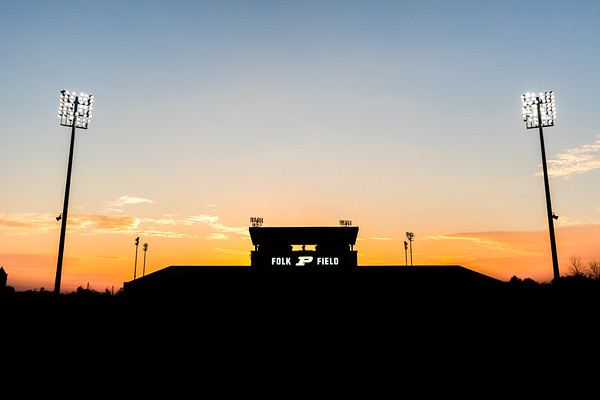 Purdue Soccer's Folk Field silhouetted at Sunset.