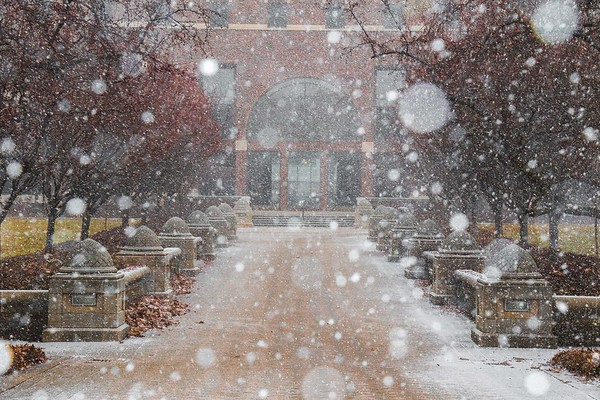 Purdue University's MSEE Building as snow begins to fall on January 29th, 2017.