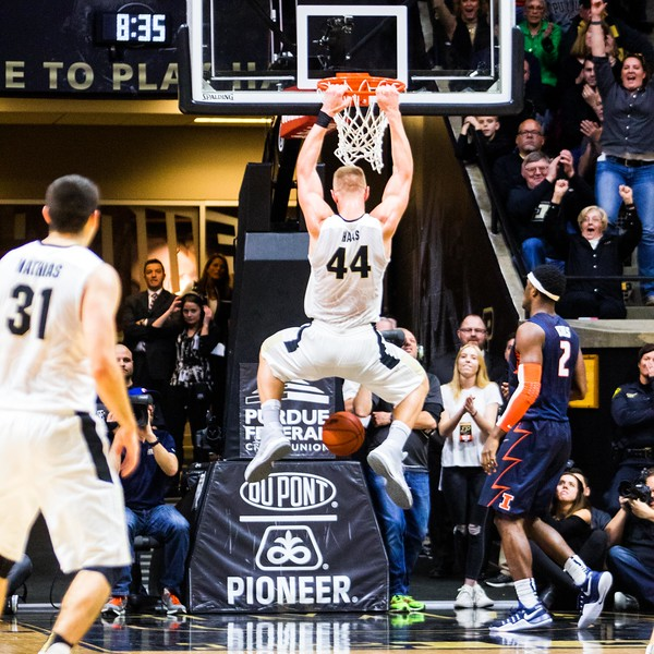 Isaac Haas dunking the ball during the Purdue/Illinois Men's Basketball Game in Mackey Arena on January 17th, 2017.