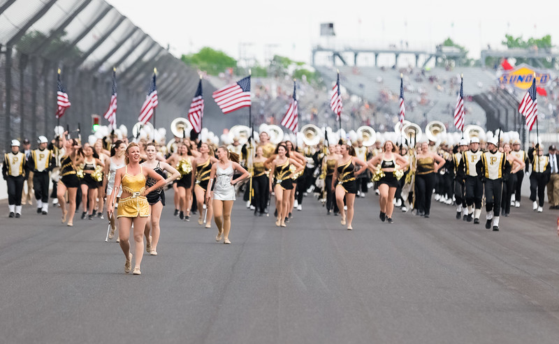 "Purdue ""All-American"" Marching Band at the Indianapolis Motor Speedway for the 101st running of the Indianapolis 500."