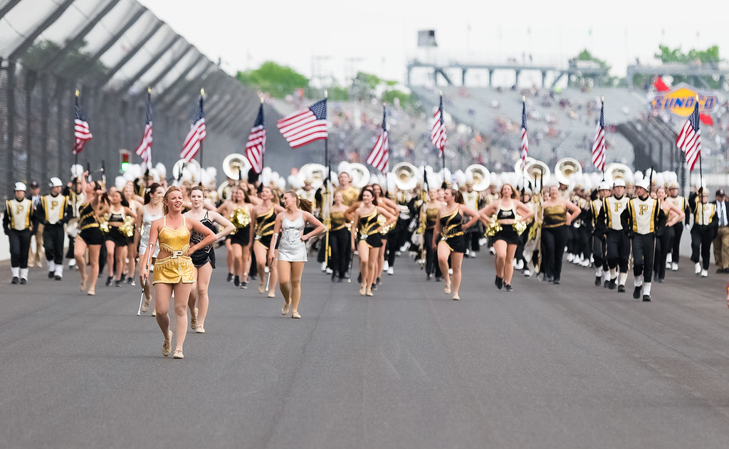 """Purdue """"All-American"""" Marching Band at the Indianapolis Motor Speedway for the 101st running of the Indianapolis 500."""