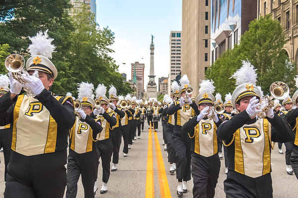 "Purdue ""All-American"" Marching Band at the 2017 500 Festival Parade downtown Indianapolis."