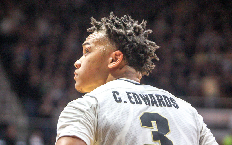 Carsen Edwards looking to the scoreboard during the Purdue/Illinois Men's Basketball Game in Mackey Arena on January 17th, 2017.