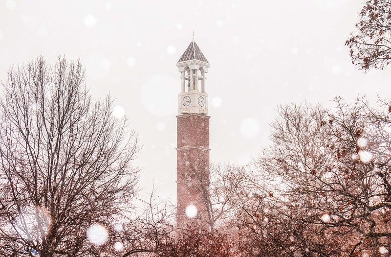 Purdue University's Bell Tower as snow begins to fall on January 29th, 2017.