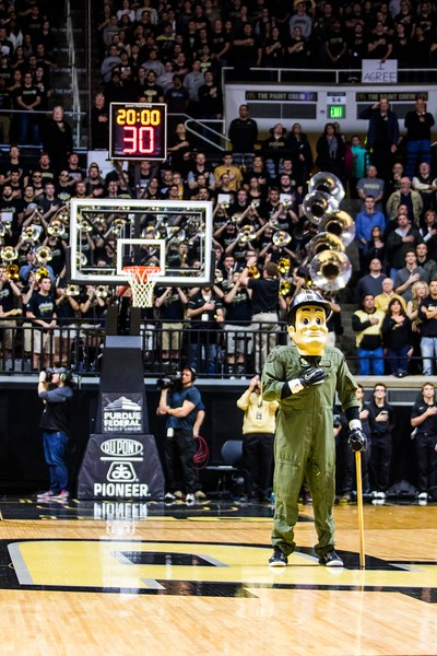Purdue Pete on Top Gun Night in Mackey Arena