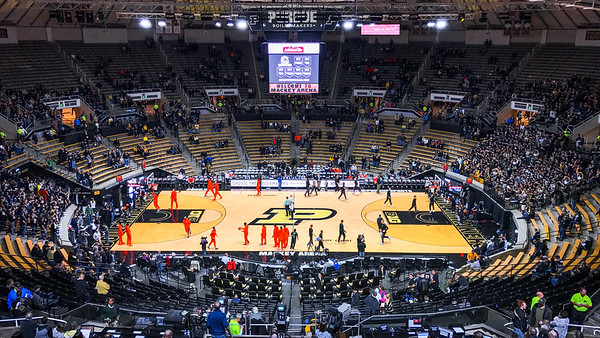 Pre-game warmups at Mackey Arena for the Purdue/Illinois Men's Basketball game on January 17th, 2017