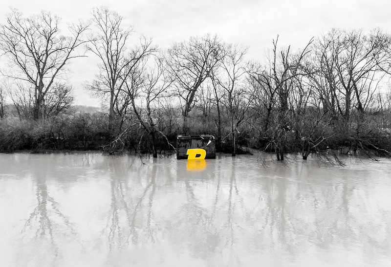 The Purdue P logo sinks as the Wabash River floods its banks, January 22nd, 2017