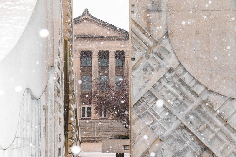 Hovde Hall at Purdue University as snow begins to fall on January 29th, 2017.