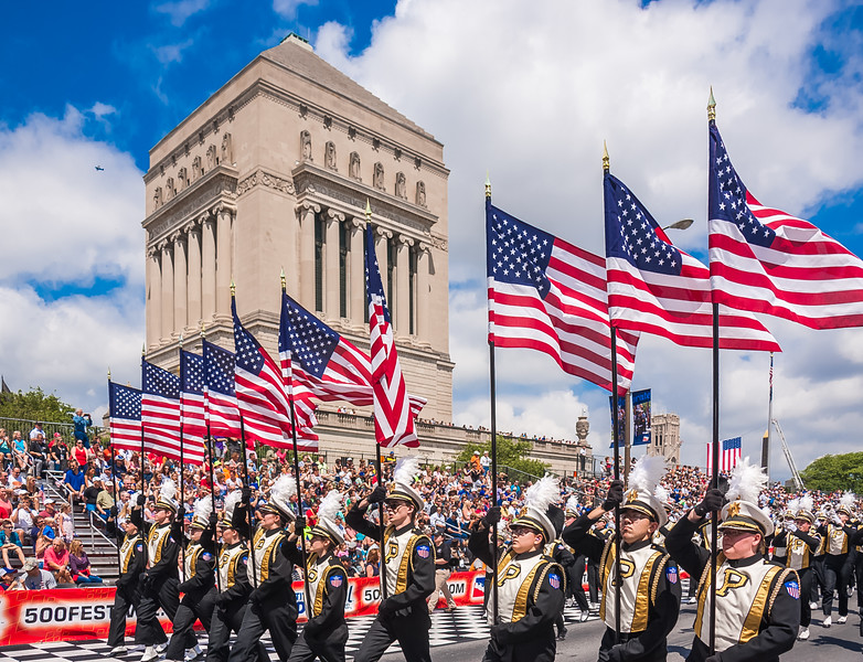 """Purdue """"All-American"""" Marching Band at the 2017 500 Festival Parade downtown Indianapolis."""