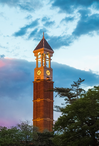 Last bit of sun shines on the Bell Tower before sunset.