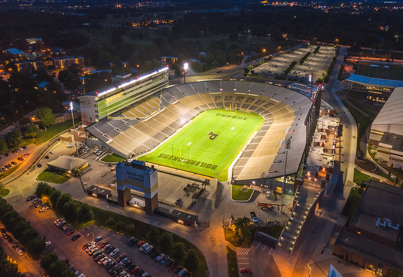 Crews aim lights in preparation for the first night game under permanently installed lights at Ross-Ade Stadium.(flight performed with permission from Lafayette tower / within 30 mins of sunset/before civil twilight)