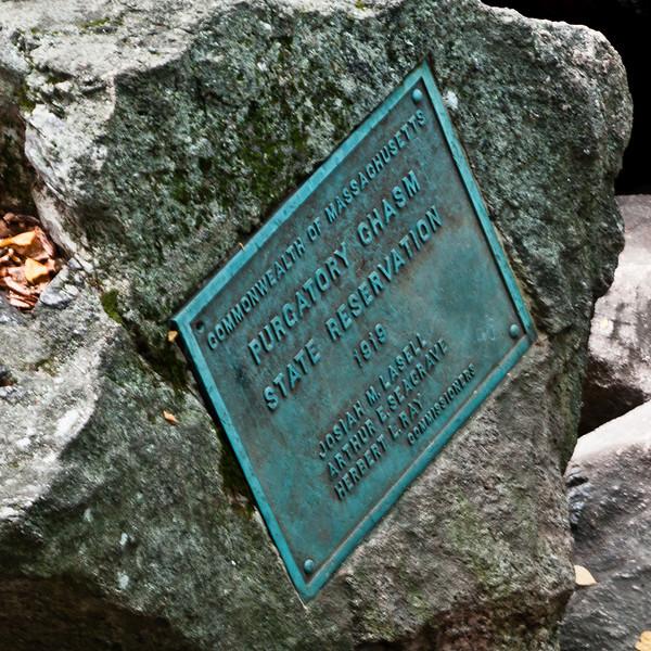 Purgatory Chasm State Reservation dedication plaque.