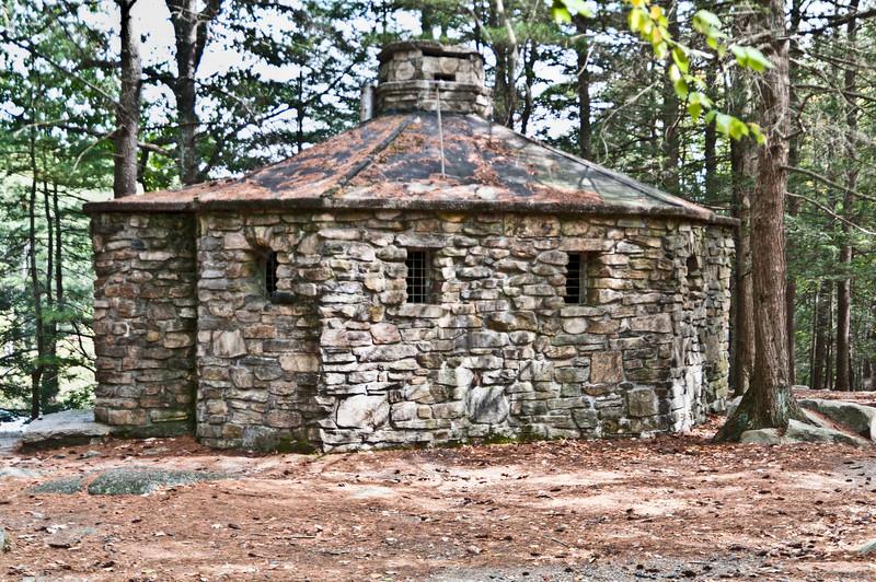 Old stone restroom building.