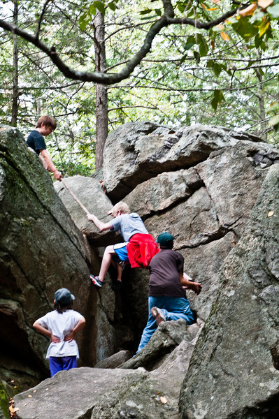 Climbing with a little help from one's friends.