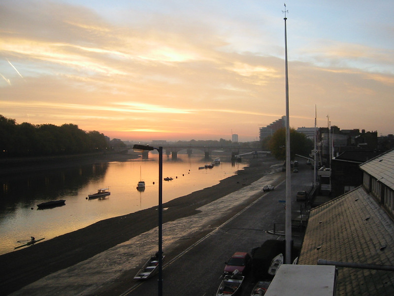 Looking over Thames Rowing Club down towards Putney Bridge from the balcony at Imperial College Boathouse.
