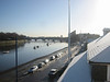Looking over Thames Rowing Club down towards Putney Bridge from the balcony at Imperial College Boathouse  one winters morning.