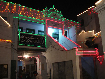 Decorated Masjid Mubarak at night