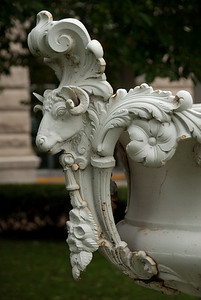 Urn decoration in front of Rock Island County Courthouse.