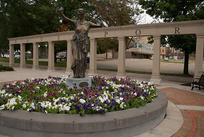 Park at 2nd Street and Gaines Street - downtown Davenport, Iowa. Part of the Centennial Gateway, it features the Lady of Germania.