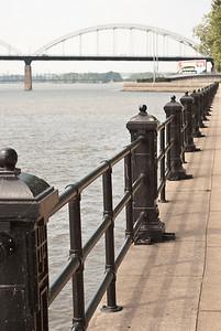 Riverfront walk - LeClaire Park - Davenport, Iowa. Centennial Bridge in background.