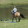 "1st rider guides horse over ""puddle"""