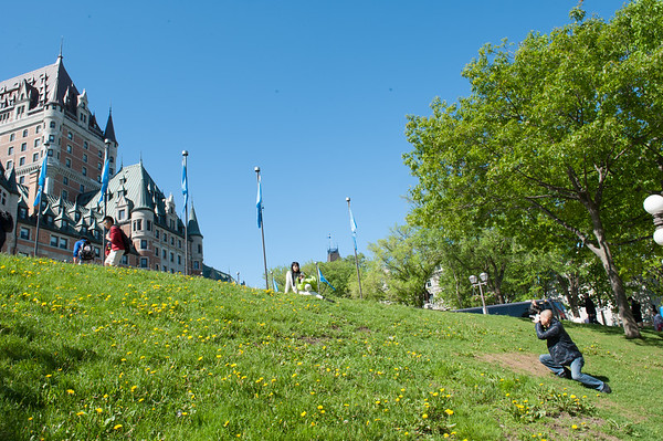 The Chateau Frontenac provides a well-known backdrop for many tourists taking pictures of one another.