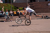 Bicycle acrobats performing in a plaza just outside the walled Old City.