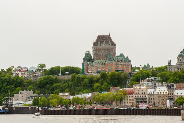 The elevation difference between the upper and lower cities is clear in this shot of the Quartier Petit Champlain in the forground, and the Chateau Frontenac and its neighbors in the background.