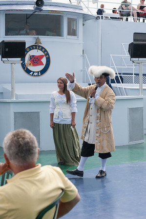 These two historical re-enactors aboard the Louis Joillet briefed passengers on the history of Quebec.