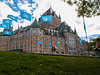 The World Heritage Site sculpture occupies a plaza in front of the Chateau Frontenac.