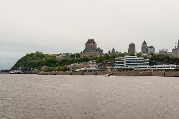 A view of Quebec city from the Louis Joillet.  From this vantage point, one can see the hilly terain and high cliffs that gave the city, and those who possessed it, a strategic advantage.  That's the Chateau Frontenac in the center.
