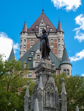 The Chateau Frontenac is omnipresent throughout much of Old Quebec, visible from both near and far.