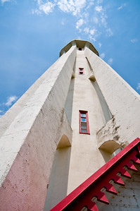 Looking up from the base of a lighthouse