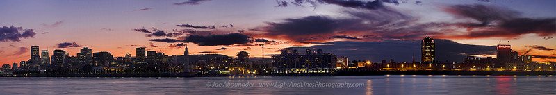 Montreal Panoramic Evening.  Montreal, Quebec, Canada.  This is a panoramic picture of twelve frames stitched together.