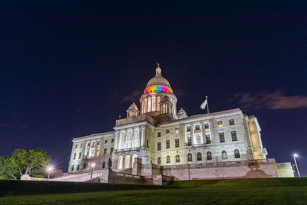 The RI State House is lit different colors throughout the year symbolizing days/months of the year.
