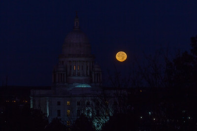 Supermoon Next To the RI State House