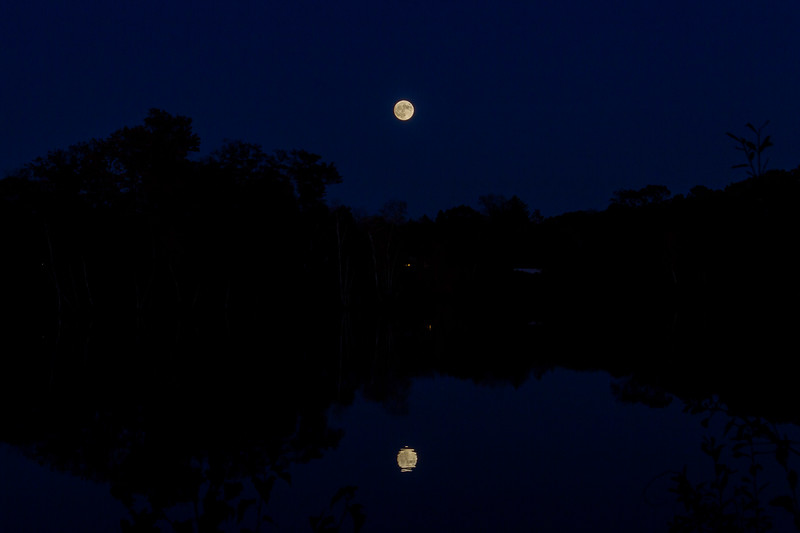 Full Moon Reflecting Over Lake