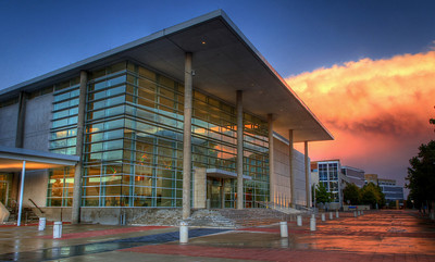 The Eisemann performing arts center after a storm.