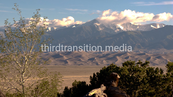 Great Sand Dunes National Park and Recreation Area. San Luis Valley, Colorado. Rio Grande (not in view) flows through valley.