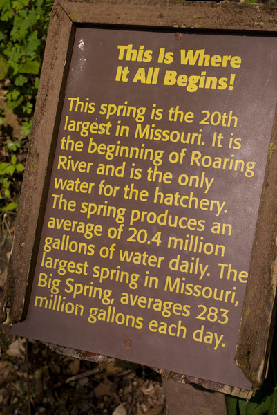 Roaring River Spring sign.
