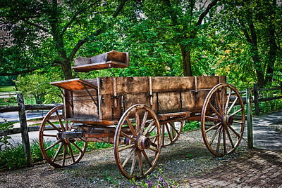 Old wagon in Roscoe Village in Coshocton, Ohio.