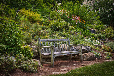 Bench in the Frances Montgomery Memorial Garden at the visitor center at Roscoe Village in Coshocton, Ohio.
