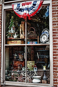 Window of the Medberry Marketplace in Roscoe Village in Coshocton, Ohio.