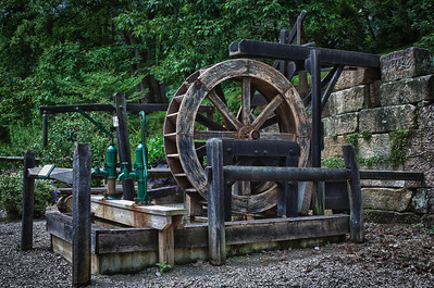 Overshot Water Wheel in Roscoe Village in Coshocton, Ohio.