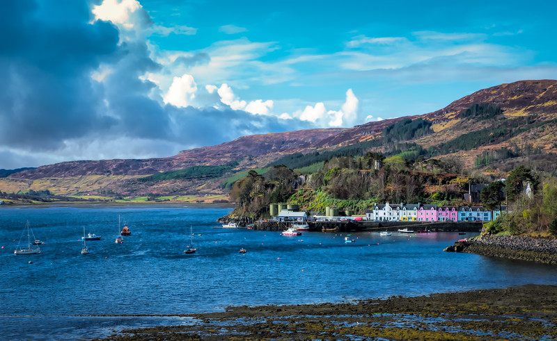 View of city of Portee, Isle of Skye, Scotland