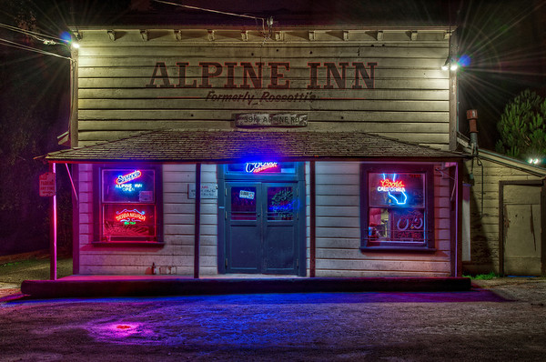 Every time I drive through Portola Valley at night I get a glimpse of the old Alpine Inn building all lit up with the neon lights but cars are always parked out front. When the bar closes for the night they usually turn off the neon lights. Occasionally they leave the lights on after they close but I never have my camera with me. Finally, on the way home from celebrating a wonderful Boxing Day evening at the Nuttals I had my camera and the lights were left on and I was able to snap this photo!