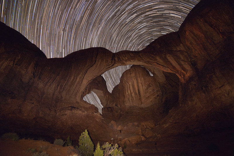 Star Trails at Double Arch